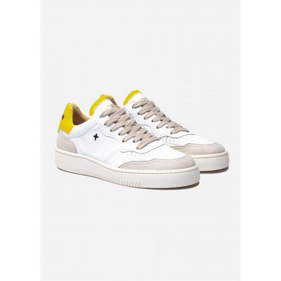 New Lab - Baskets blanches et jaunes en cuir
