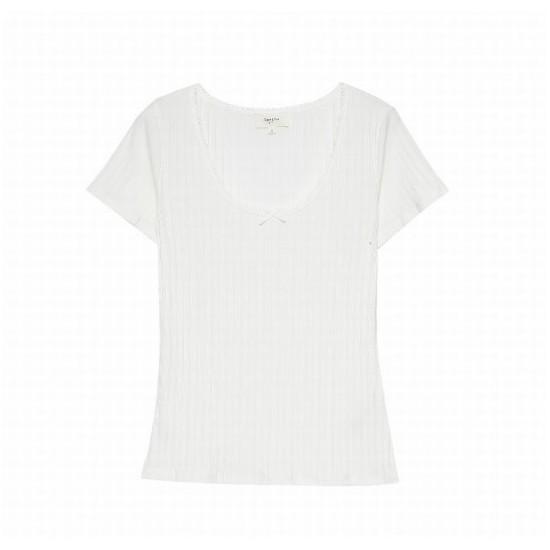Grace et Mila - Tee shirt côtelé écru femme