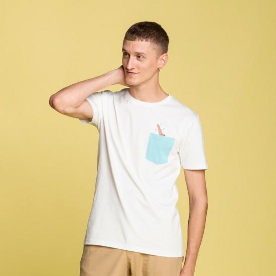 Olow - Tshirt écru plongeon avec poche