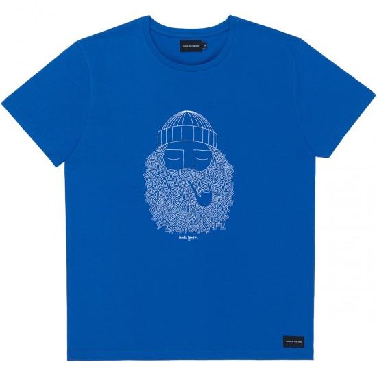 Bask in the sun - T-shirt bleu smoking pipe