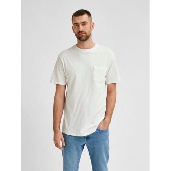 Selected homme - T-shirt crème à poche coton bio