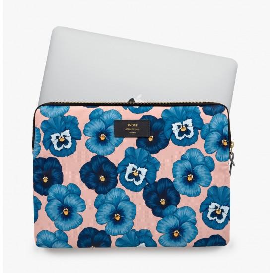 """Wouf - Housse imprimé fleurs bleues pour ordinateur 13"""""""