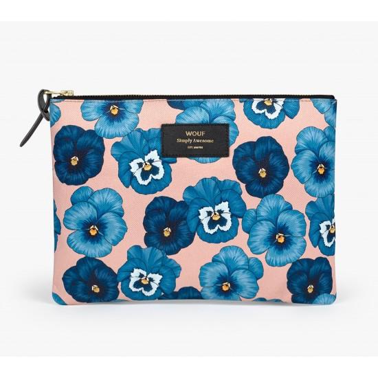Wouf - Pochette XL motifs fleurs bleues