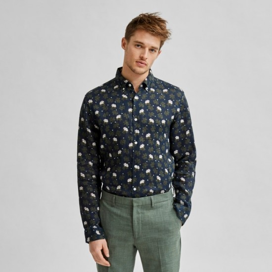 Selected homme - Chemise lin à fleurs