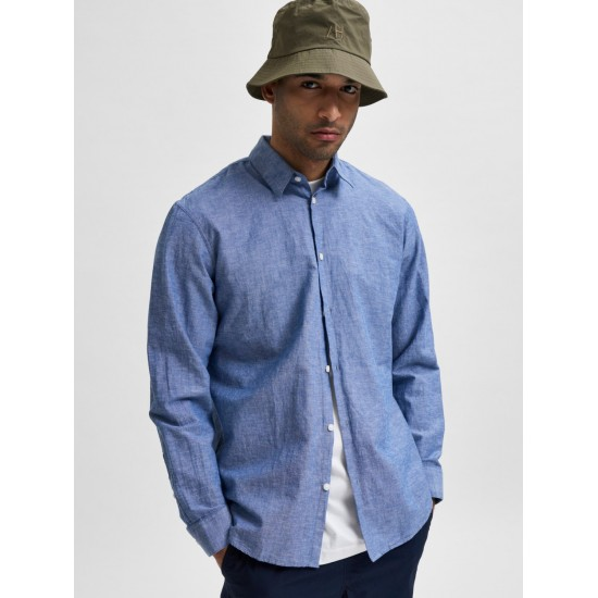 Selected homme - Chemise bleue en lin