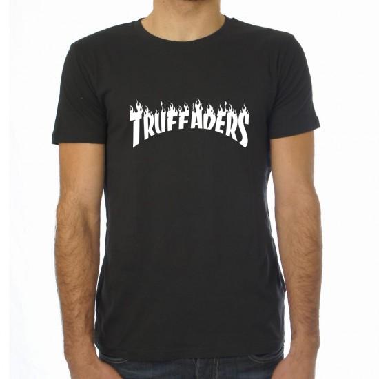 Saucisse Truffade - T-shirt homme noir Truffaders flammes blanches