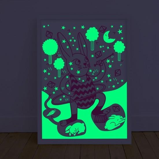Omy - Affiche Bunny phosphorescente la nuit