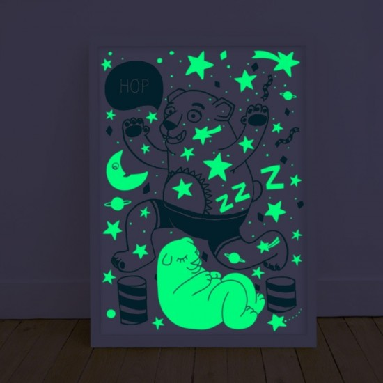 Omy - Affiche Grizzly phosphorescente la nuit