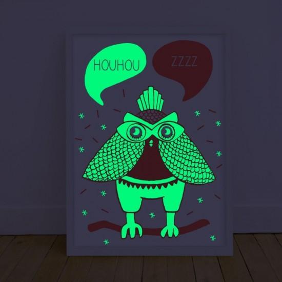 Omy - Affiche Loula phosphorescente la nuit