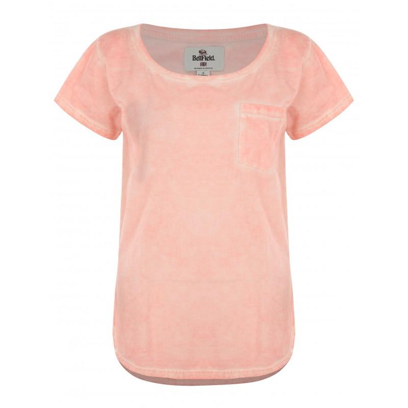 Bellfield   T-shirt rose bas arrondi avec poche pour femme   Marcel ... 64ad4b981d08