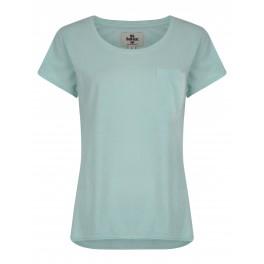 Bellfield | T shirt vert menthe bas arrondi avec poche pour femme | Marcel et Maurice