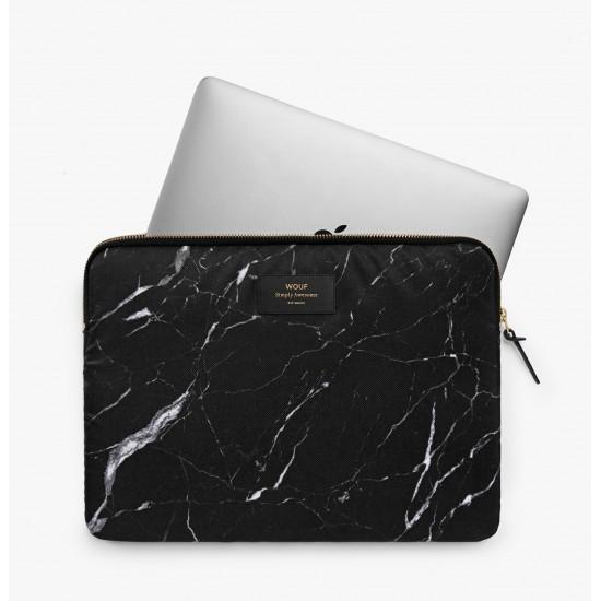 """Wouf - Housse imprimé marbre noir pour ordinateur 15"""""""