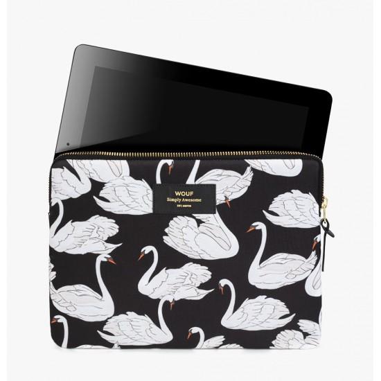 Wouf - Housse imprimé cygnes pour tablette et iPad