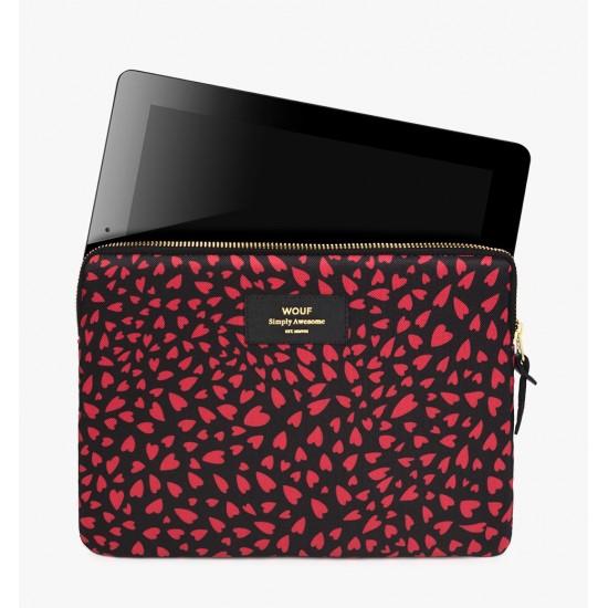 Wouf - Housse imprimé coeurs pour tablette et iPad