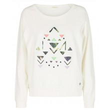 Nümph - Sweat col rond blanc motif triangle