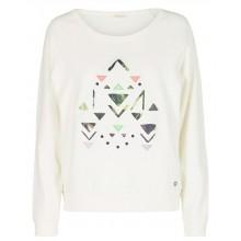 Nümph - Sweat col rond blanc motif triangle