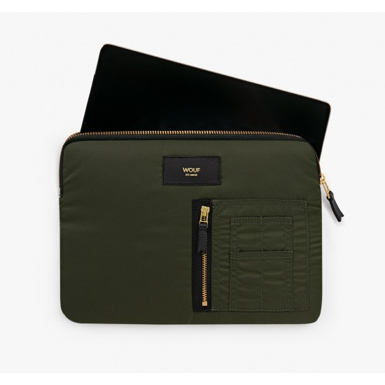 Wouf - Housse bomber vert pour tablette et iPad