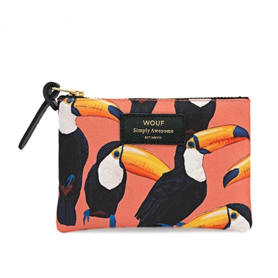 Wouf - Petite pochette imprimé toucans