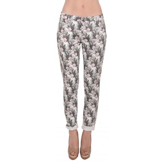Lap Dip- Chino blanc avec motif fleur