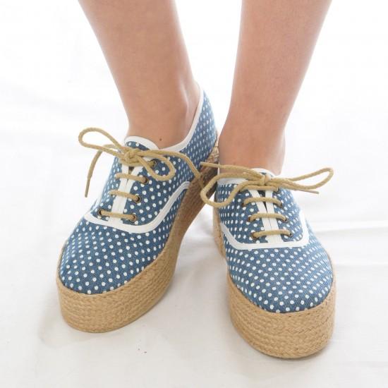 Ippon Vintage - Espadrille plateau à lacets bleu à pois blanc