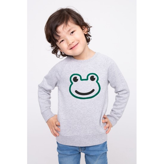 French Disorder - Sweat enfant gris chiné grenouille