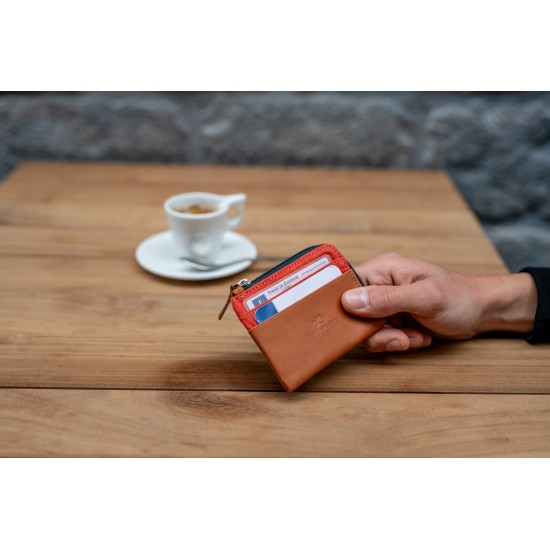 BillyBelt - Porte cartes zip brique