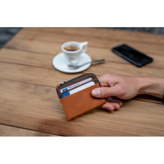 BillyBelt - Porte cartes zip marron