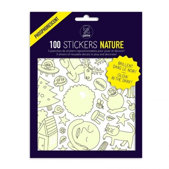 Omy - 100 stickers phosphorescents nature