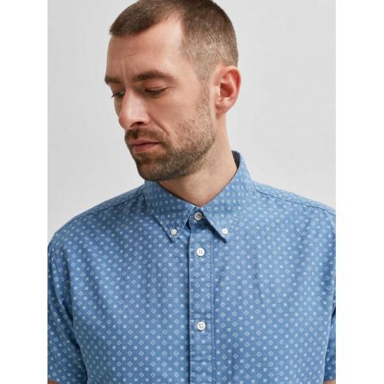 Selected homme - Chemisette bleu à motifs