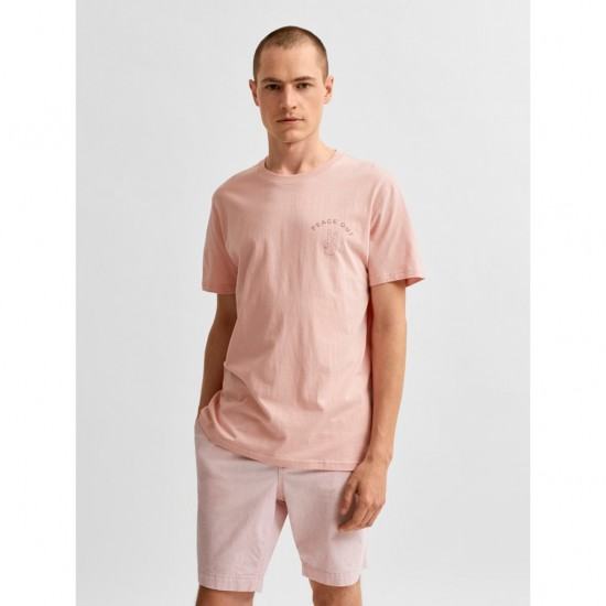 Selected homme - T-shirt rose Peace Out