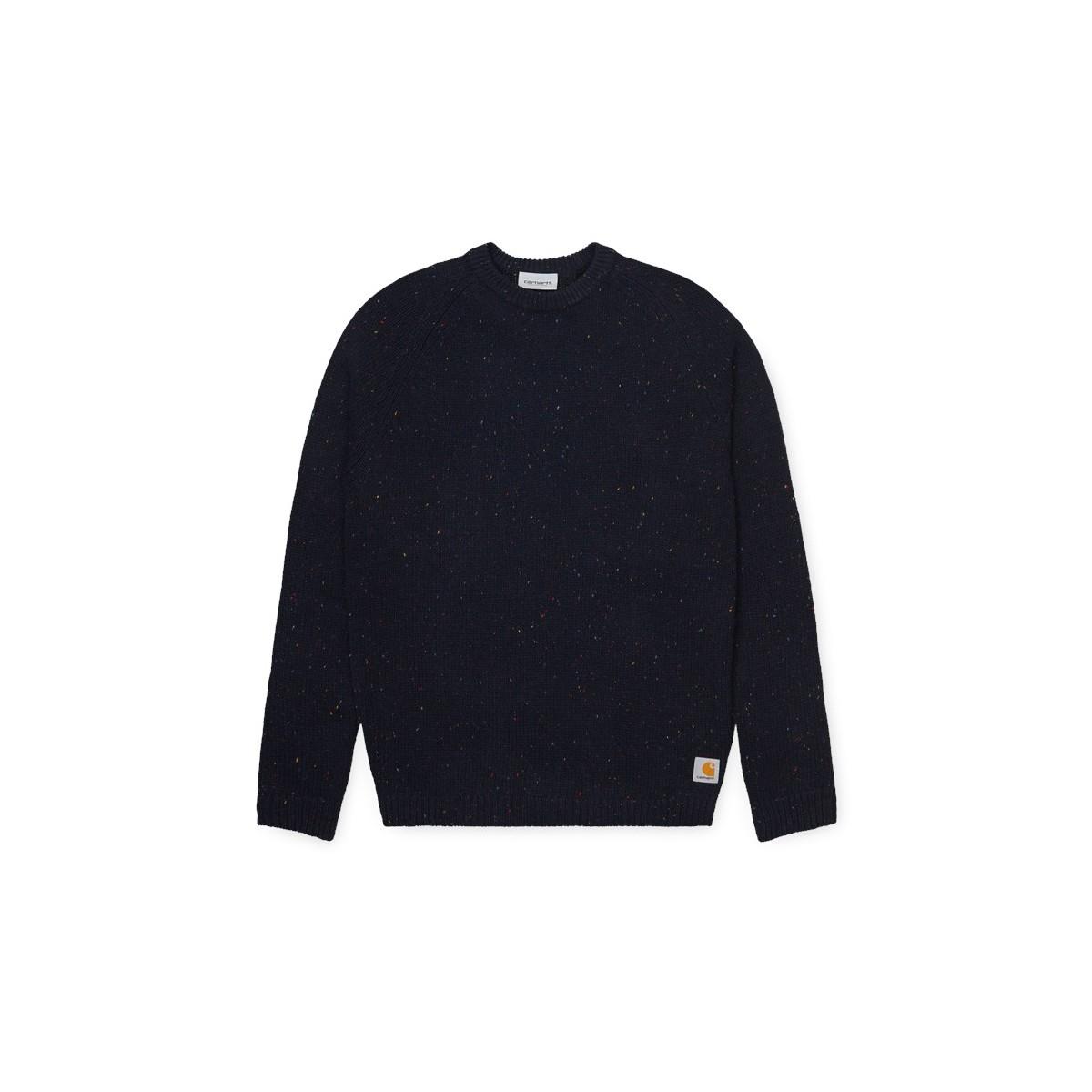 Carhartt WIP - Pull en laine bleu marine moucheté