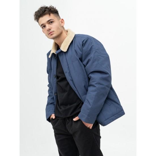 Carhartt WIP - Manteau bleu col mouton