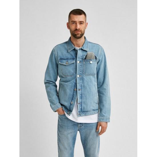 Selected - Veste en jean bleu clair