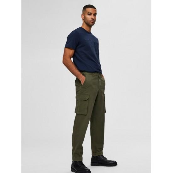 Selected homme - Pantalon cargo ajusté kaki