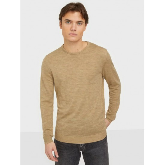 Selected homme - Pull fin camel pour homme