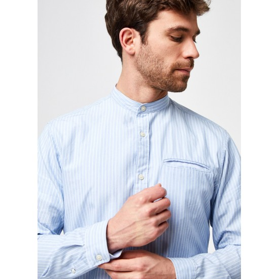 Selected homme - Chemise à rayures col mao
