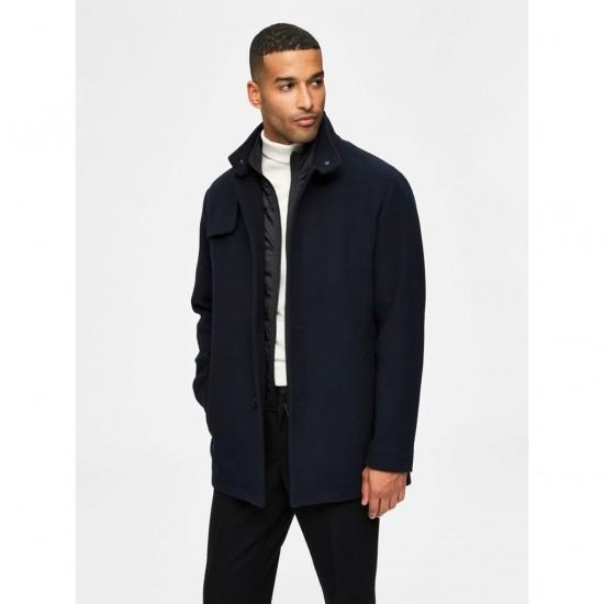Selected - Manteau en laine bleu marine