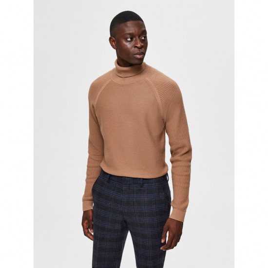 Selected - Pull marron col roulé