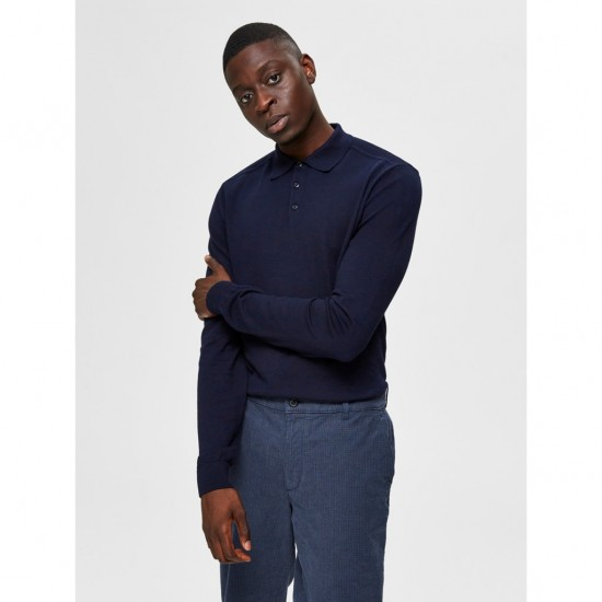 Selected homme - Pull marine col polo