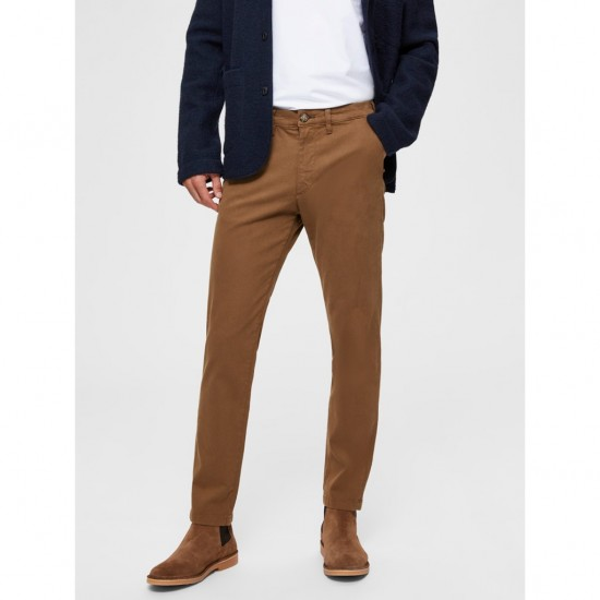 Selected homme - Pantalon chino ajusté marron