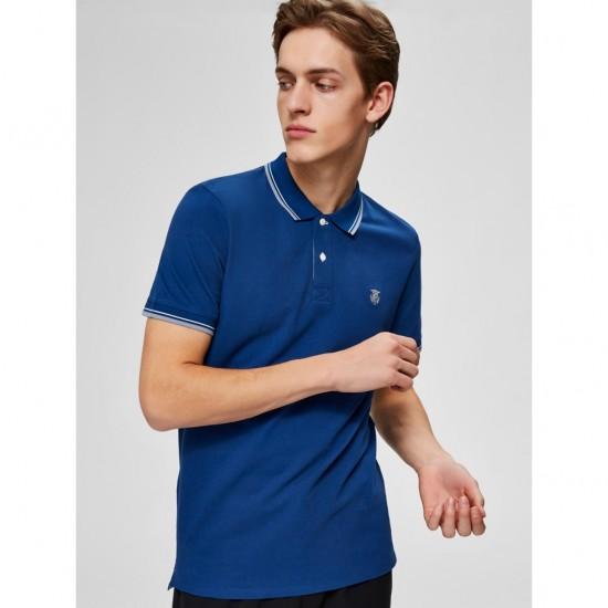 Selected - Polo bleu avec liseré
