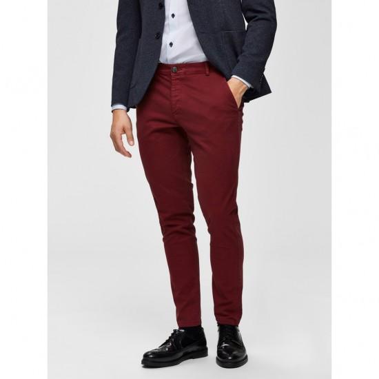 Selected homme - Pantalon chino skinny bordeaux