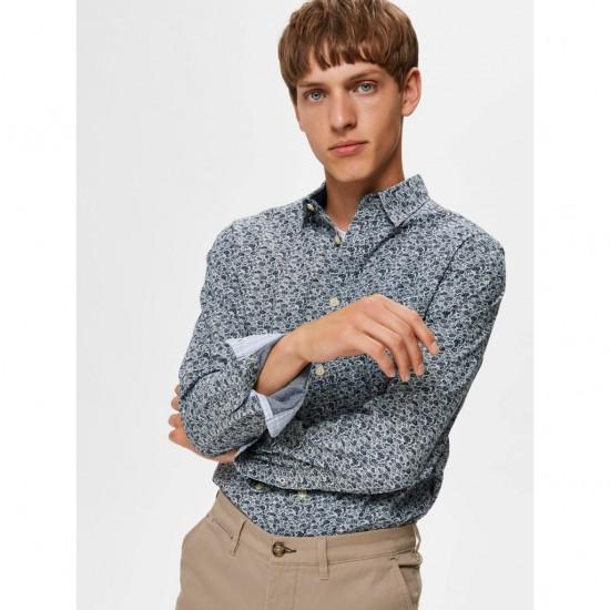 Selected homme - Chemise bleue à fleurs