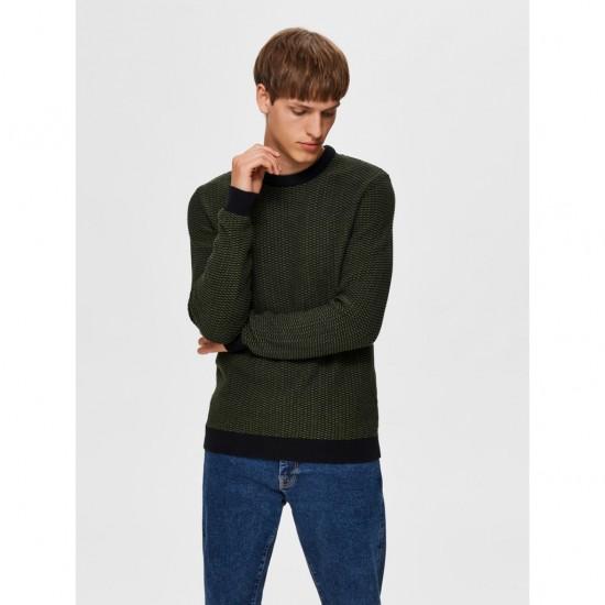 Selected homme - Pull vert et noir pour homme