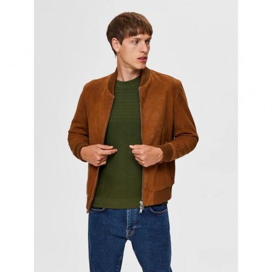Selected - Bomber daim camel