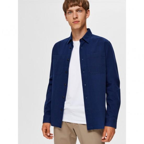 Selected - Veste chemise bleu médieval