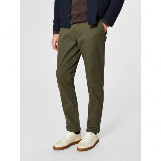 Selected homme - Pantalon chino vert kaky