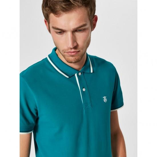 Selected - Polo turquoise avec liseré
