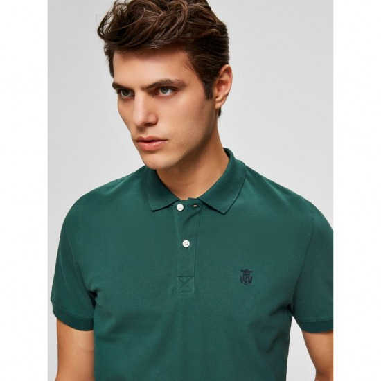 Selected - Polo vert sapin broderie marine
