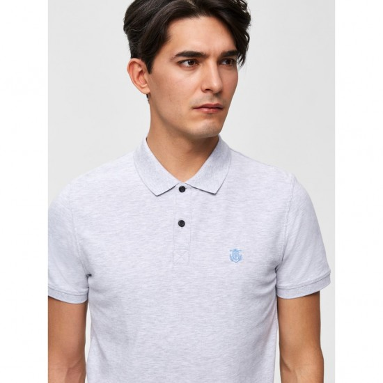 Selected - Polo gris clair chiné